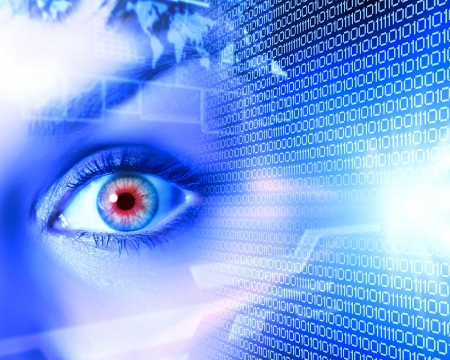 Eye viewing digital information represented by ones and zeros Stock Photo - 15696881