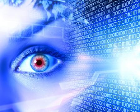 ojos azules: Eye visualización digital información representada por unos y ceros Foto de archivo
