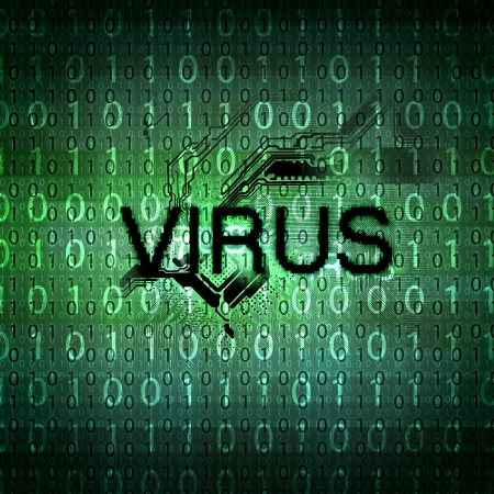 A computer virus detection symbol illustration with word Virus Stock Illustration - 15696899