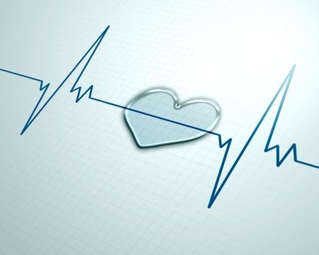 Herzkrankheit: Ein medizinischer Hintergrund mit einem Herzschlag-Impuls mit einer Herzfrequenz Monitor-Symbol