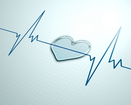 attacco cardiaco: Uno sfondo medica con un impulso di battito cardiaco con il simbolo del monitor della frequenza cardiaca