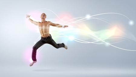 Bailarín moderno estilo masculino saltando y posando Ilustración