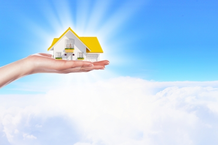 real estate background: Hand holding   offer house  Real estate concept  Handful collection