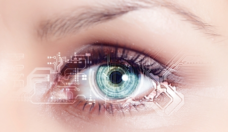 futuristic eye: Eye viewing digital information represented by circles and signs