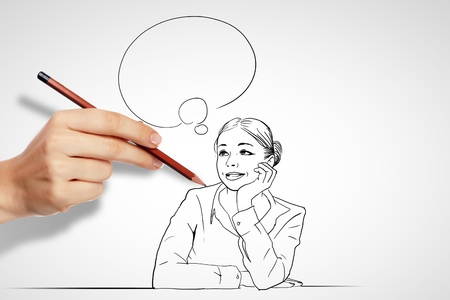 communication: Pencil drawing with quesions and challenges in business