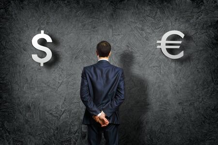 bringing: Conceptual image - problem of a choice of currency