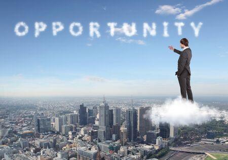 productividad: Collage sobre el tema de negocios con una persona de negocios Foto de archivo