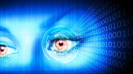 zeros: Eye viewing digital information represented by ones and zeros