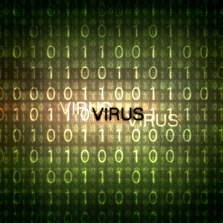 A computer virus detection symbol illustration with word Virus Stock Illustration - 15765613