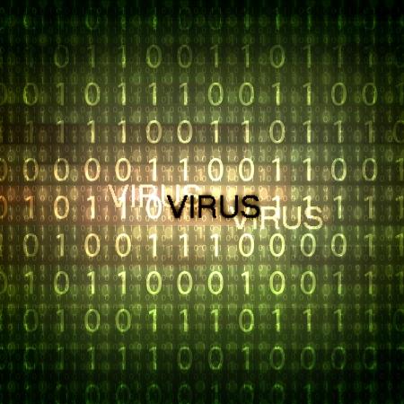 breech: A computer virus detection symbol illustration with word Virus Stock Photo