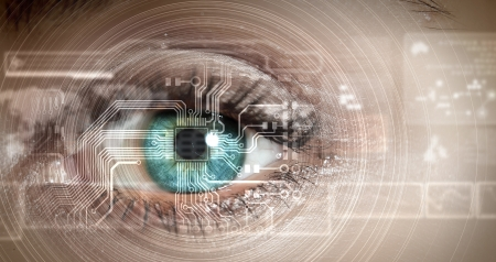 biometric: Eye viewing digital information represented by circles and signs