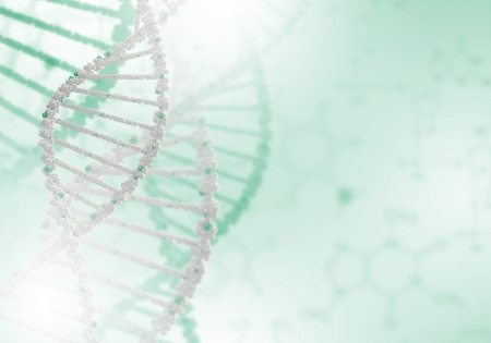 guanine: Image of DNA strand against colour background