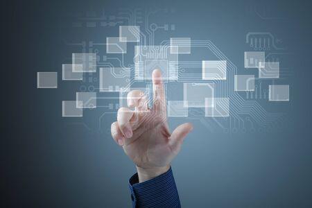 Modern Business World, A businessman navigating virtual world map Stock Photo - 15850874