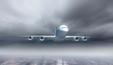 commercial airplane: Large passenger airplane flying in the sky