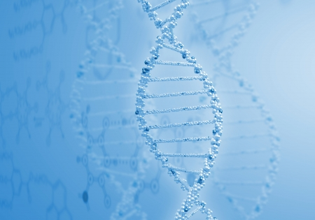 Digital illustration of dna structure on colour background Stock Illustration - 15851034