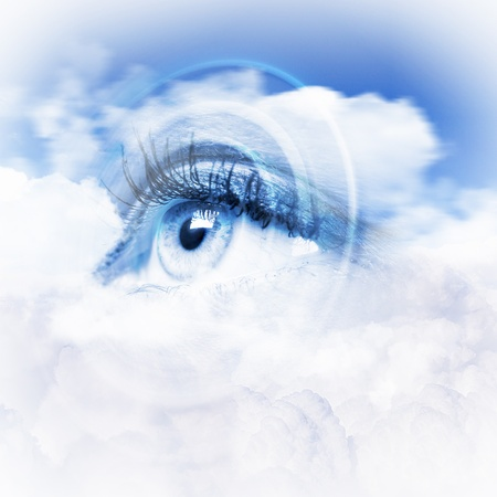 close up eyes: Conceptual illustration of eye overlooking water scenic