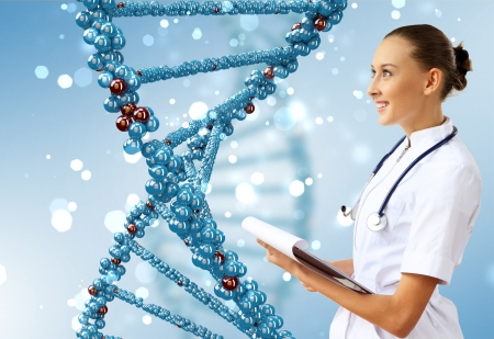 Image of DNA strand against colour background Stock Photo - 15965474