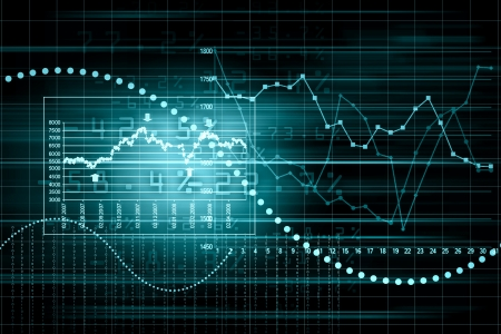 stock market chart: Business graph with arrow showing profits and gains