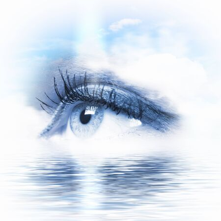close up eye: Conceptual illustration of eye overlooking water scenic