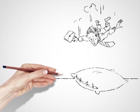 Dibujo en blanco y negro sobre los riesgos y peligros en los negocios