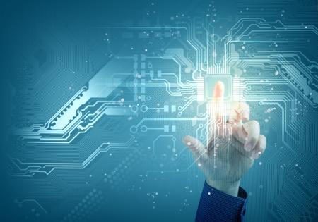 将来の技術に触れるボタン切り替えたイラスト