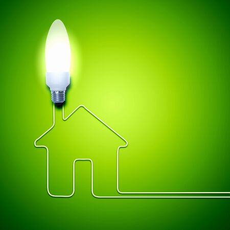 save electricity: Illustration of an electric light bulb with a house  Conceptual illustration Stock Photo