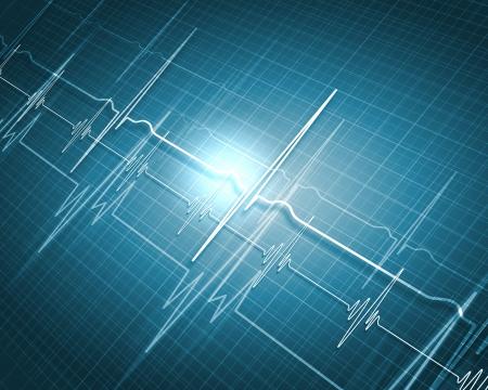 Ein medizinischer Hintergrund mit einem Herzschlag-Impuls mit einer Herzfrequenz Monitor-Symbol Standard-Bild