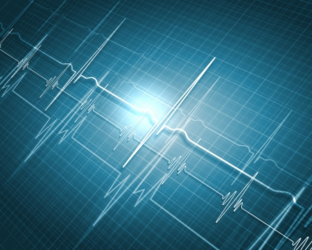 elettrocardiogramma: Uno sfondo medico con un cuore battere impulso con un simbolo cardiofrequenzimetro