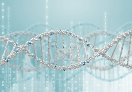 Image of DNA strand against colour background Stock Photo - 16103739