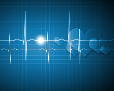 cardiograph: Image of heart beat picture on a colour background