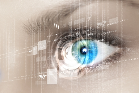 ojos azules: Ojo información visual digital representado por círculos y signos Foto de archivo