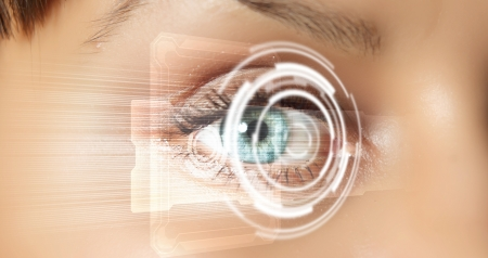 Eye viewing digital information represented by circles and signs Stock Photo - 16103883