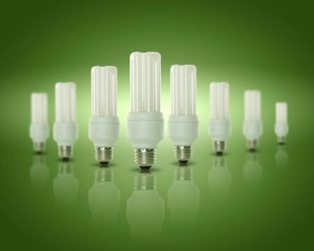 Energy efficient CFL compact fluorescent light bulb lamp photo