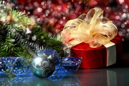 merrychristmas: New Year s collage  Decorations and ribbons on a bright color background