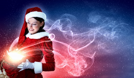 Noël illlustration de belle fille en costume de santa