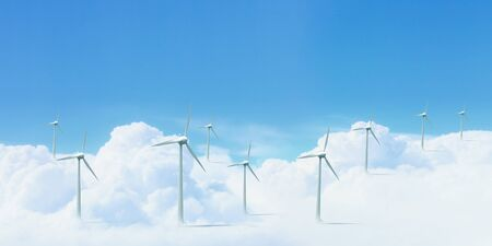 The Alternative energy  Group of energy-producing windmills Stock Photo - 16137051