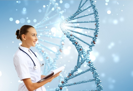 Image of DNA strand against colour background Stock Photo - 16304897