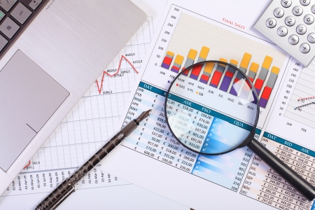 financial plan: Image of a businessman workplace with papers Stock Photo
