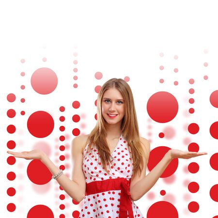 Young blond woman in red dress with red circles around Stock Photo - 16304896