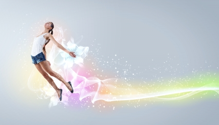 Modern style dancer jumping and posing  Illustration Stock Photo