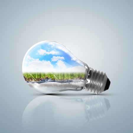 Ecoloy illustration Lamp bulb with clean nature and renewable energy symbol inside illustration