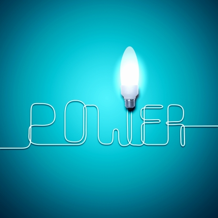 Illustration of an electric light bulb with word Power  Conceptual illustration illustration