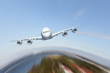 Image d'un avion de ligne volant blanc