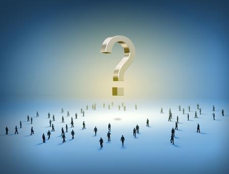 punto di domanda: Gruppo di persone piccole camminare verso un punto interrogativo