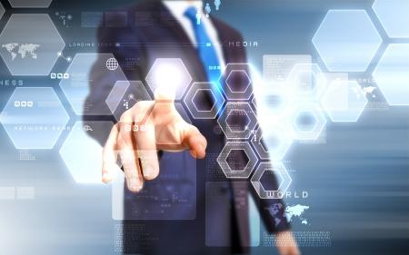 현대 가상 기술을 사용하는 비즈니스 사람 스톡 콘텐츠