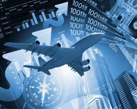 Image of a plane against business background photo