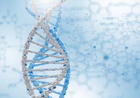 molecular biology: Digital illustration of dna structure on colour background