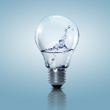 clean water: Electric light bulb with clean water inside it