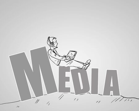 Drawing of a businessman sitting on the word media photo