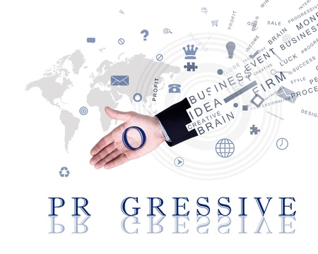 company vision: Business concept with hands and business words made up from letters Stock Photo